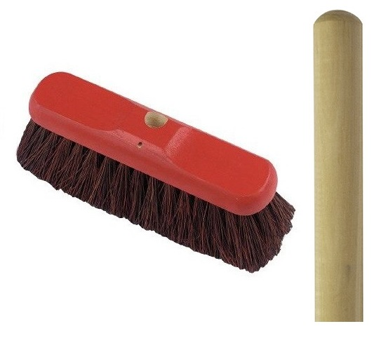 12-inch Bassine-filled threaded broom and wooden handle