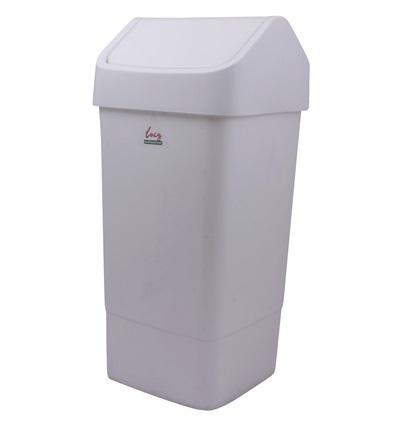 'Lucy' White Plastic Swing Bin 50 litre
