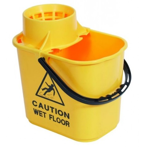 Professional-Plastic-Bucket---Wringer-15litre---Yellow