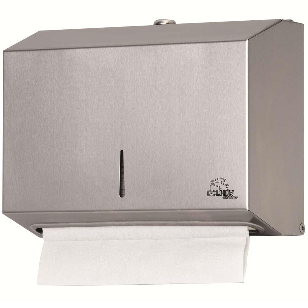 Dolphin Surface-Mounted Hand Towel Dispenser - brushed stainless steel