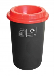 50litre-Round-Recycling-Bin-Black-Base--Red-Lid---Stickers