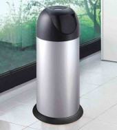 40-litre Silver Swing Bullet Bin with Lid