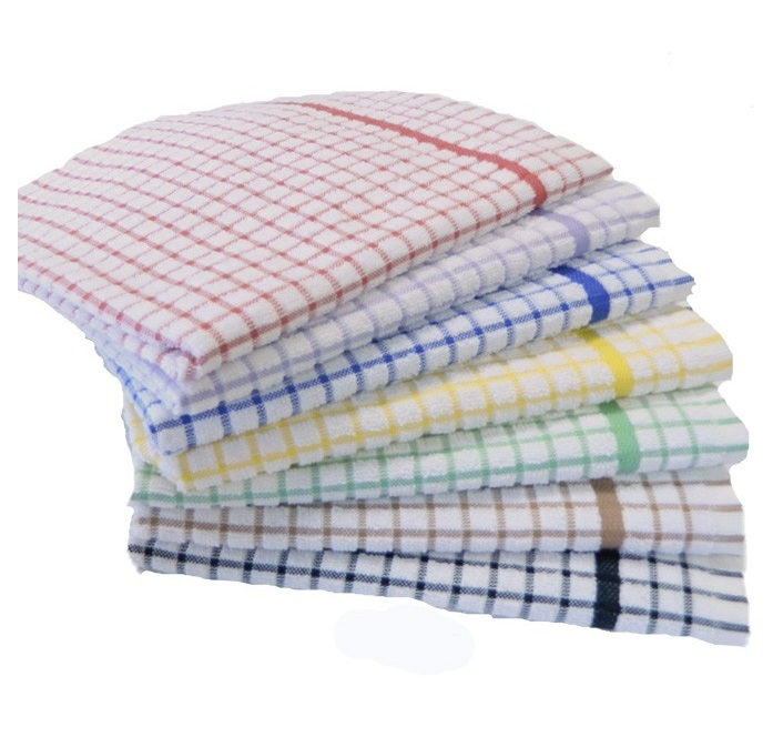 Checked Terry Tea Towels 18-inch x 27-inch (pack of 10) (catering)