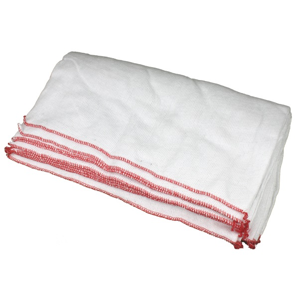 Premium White Dishcloths RED Trim 45x38cm (pack of 10)