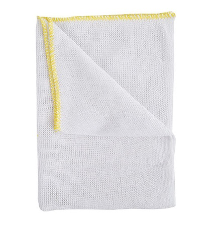 Premium White Dishcloths YELLOW Trim 45x38cm (pack of 10)