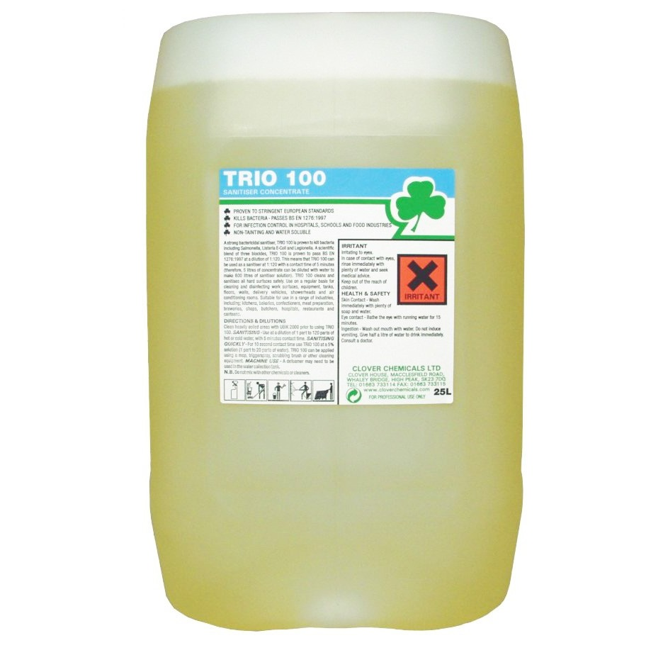 20 litre - TRIO 100 Hard Surface Sanitiser / Cleaner