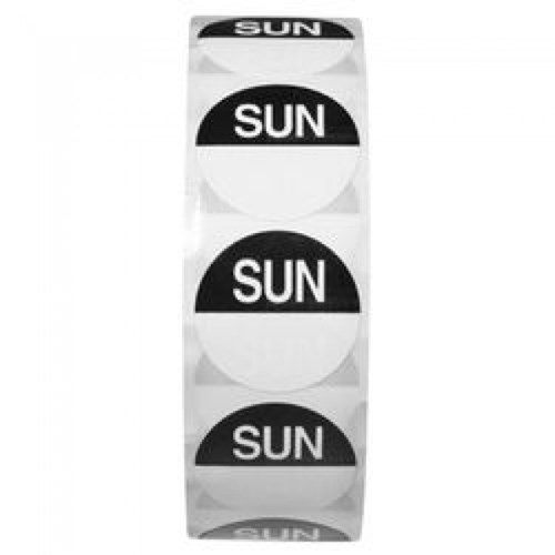 Day Dot 25mm - Sunday (Roll Of 1000 Labels)