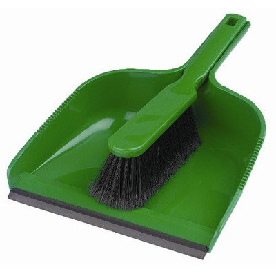 Open dustpan and soft brush set - GREEN