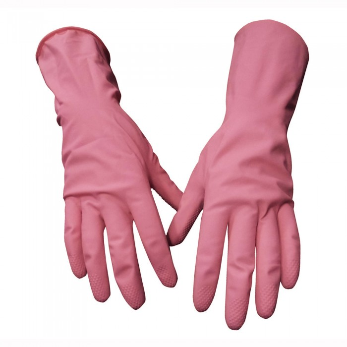 Household rubber gloves PINK (PACK of 12) SMALL