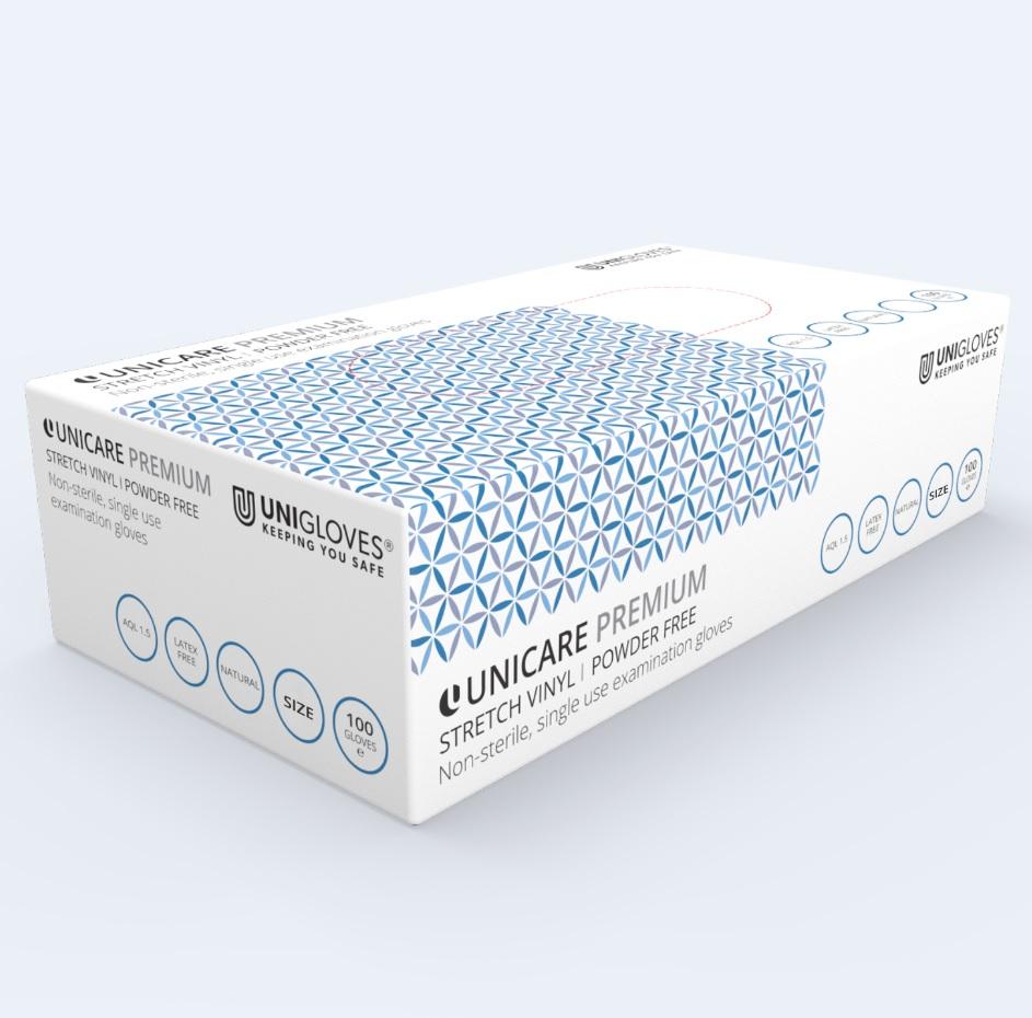 UNICARE-PREMIUM-Stretch-Vinyl-Powder-FREE-Gloves--Medium----Pack-of-100