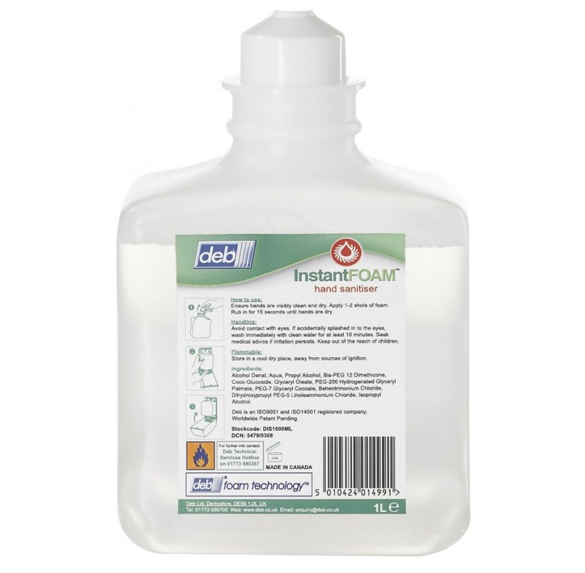 Deb Instant Foam Hand Sanitiser 6x1litre