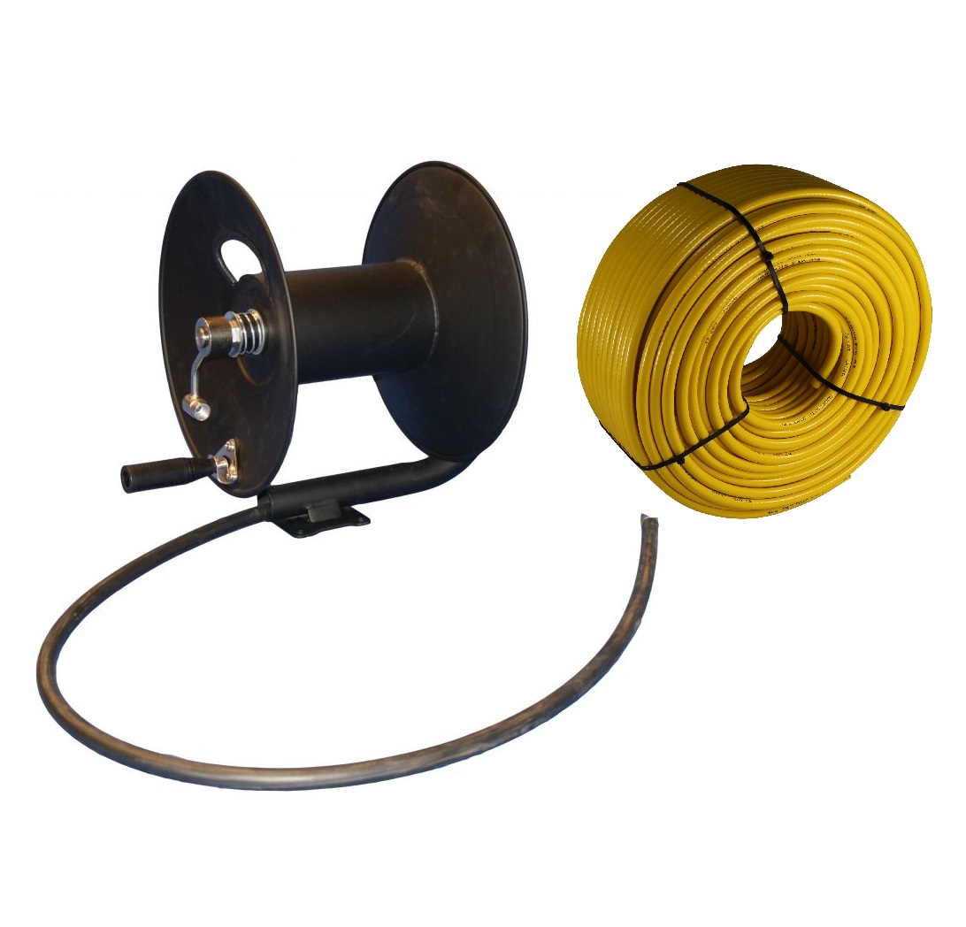 Freestanding Metal Hose Reel - with 50m of 6mm hose