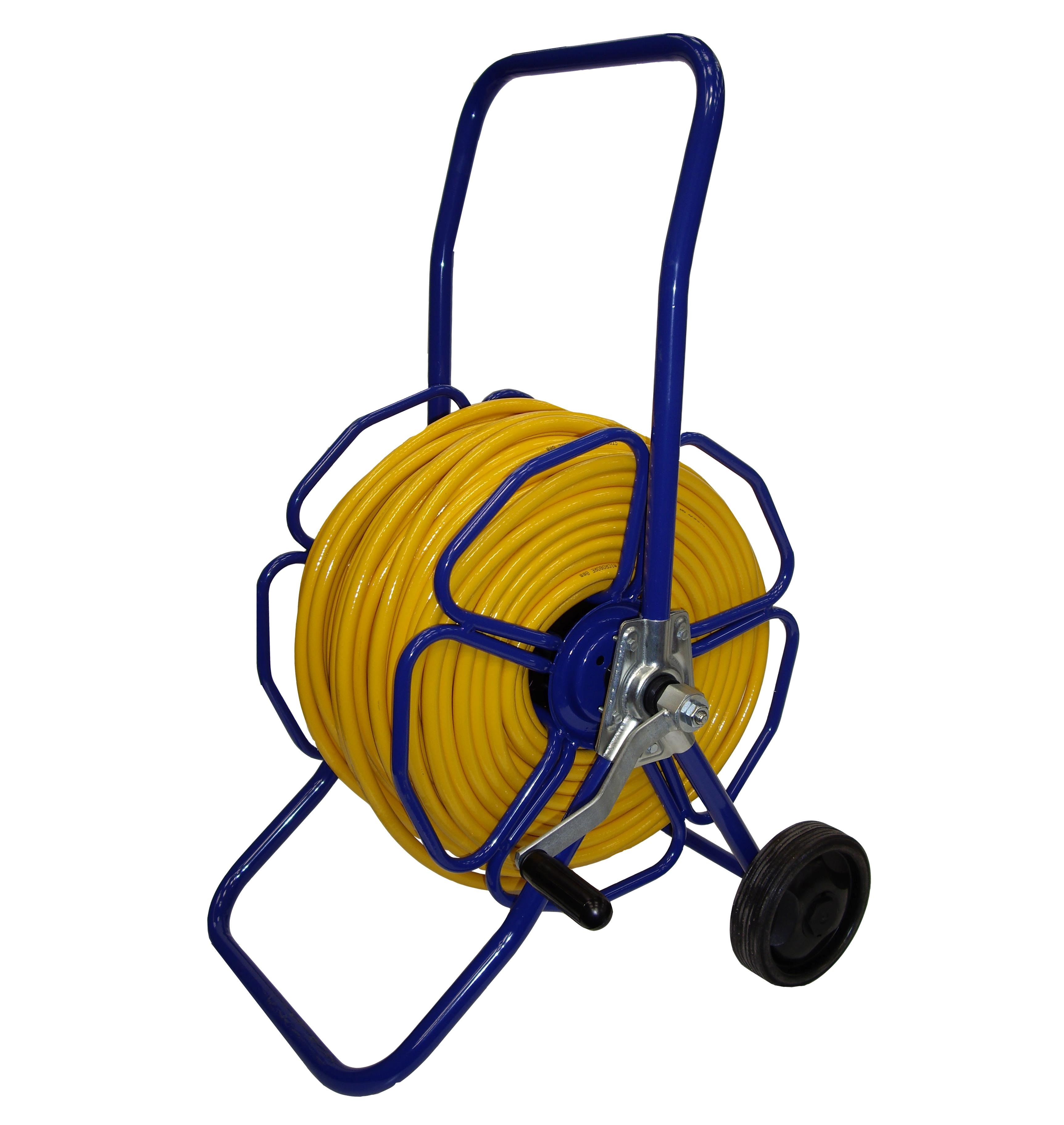 Metal-Wheeled-Hose-Reel---with-100m-of-6mm-microbore-and-fitting-kit