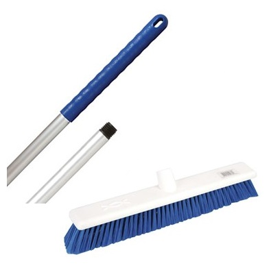 18-inch Blue SOFT Abbey Hygiene Broom - complete with 137cm handle