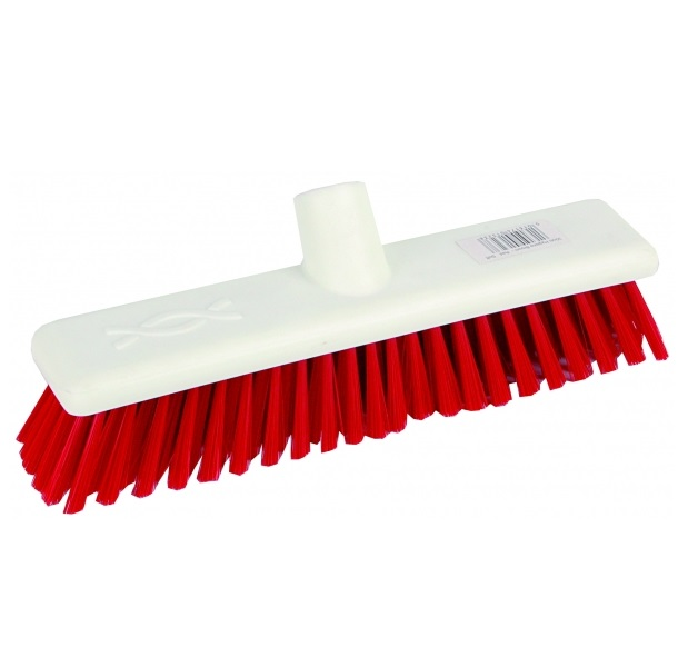 12-inch Red STIFF Abbey Hygiene Broom Head