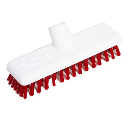 9-inch Red DECK SCRUB Abbey Hygiene Broom Head