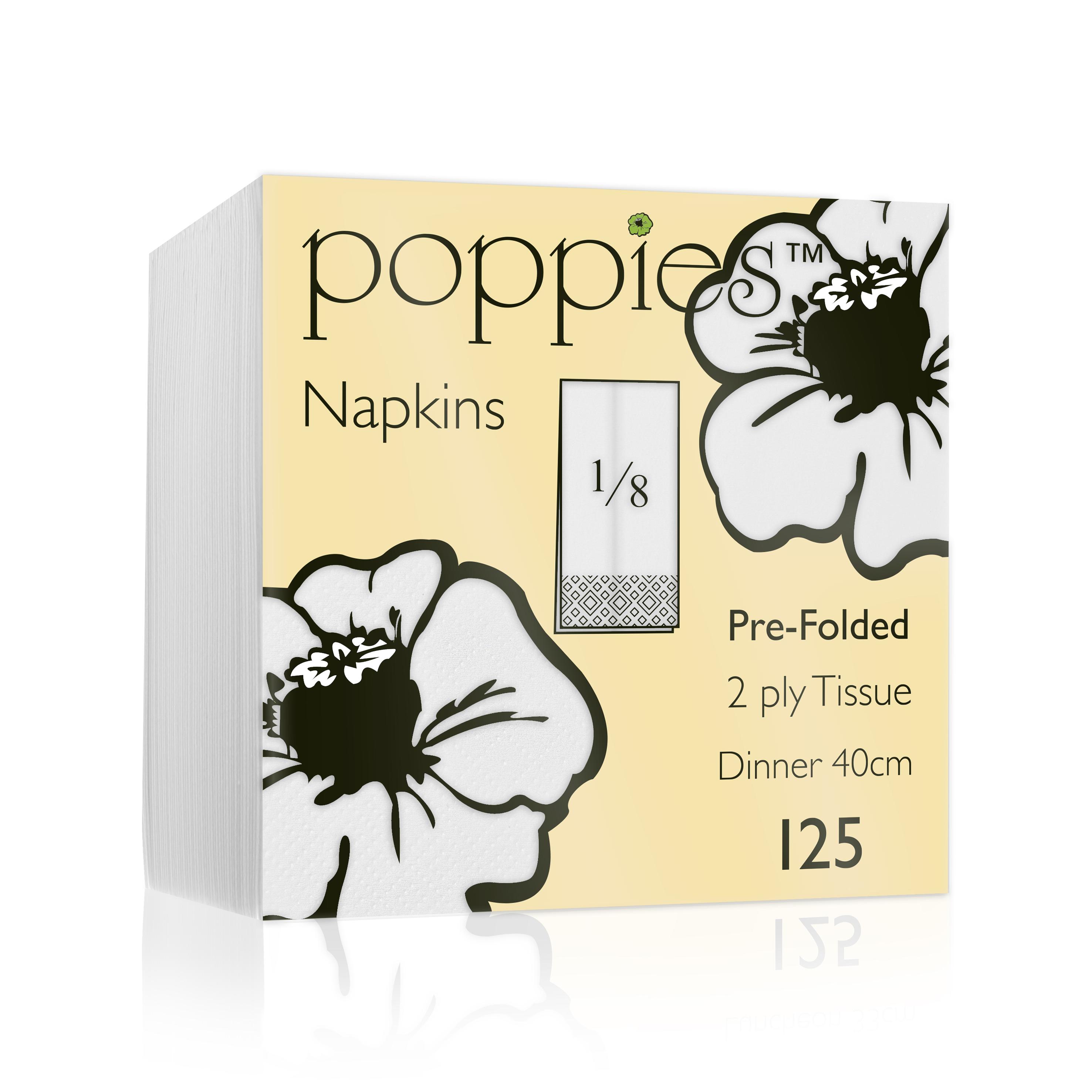 White Napkins 40cm 2ply 8-fold (16x125)