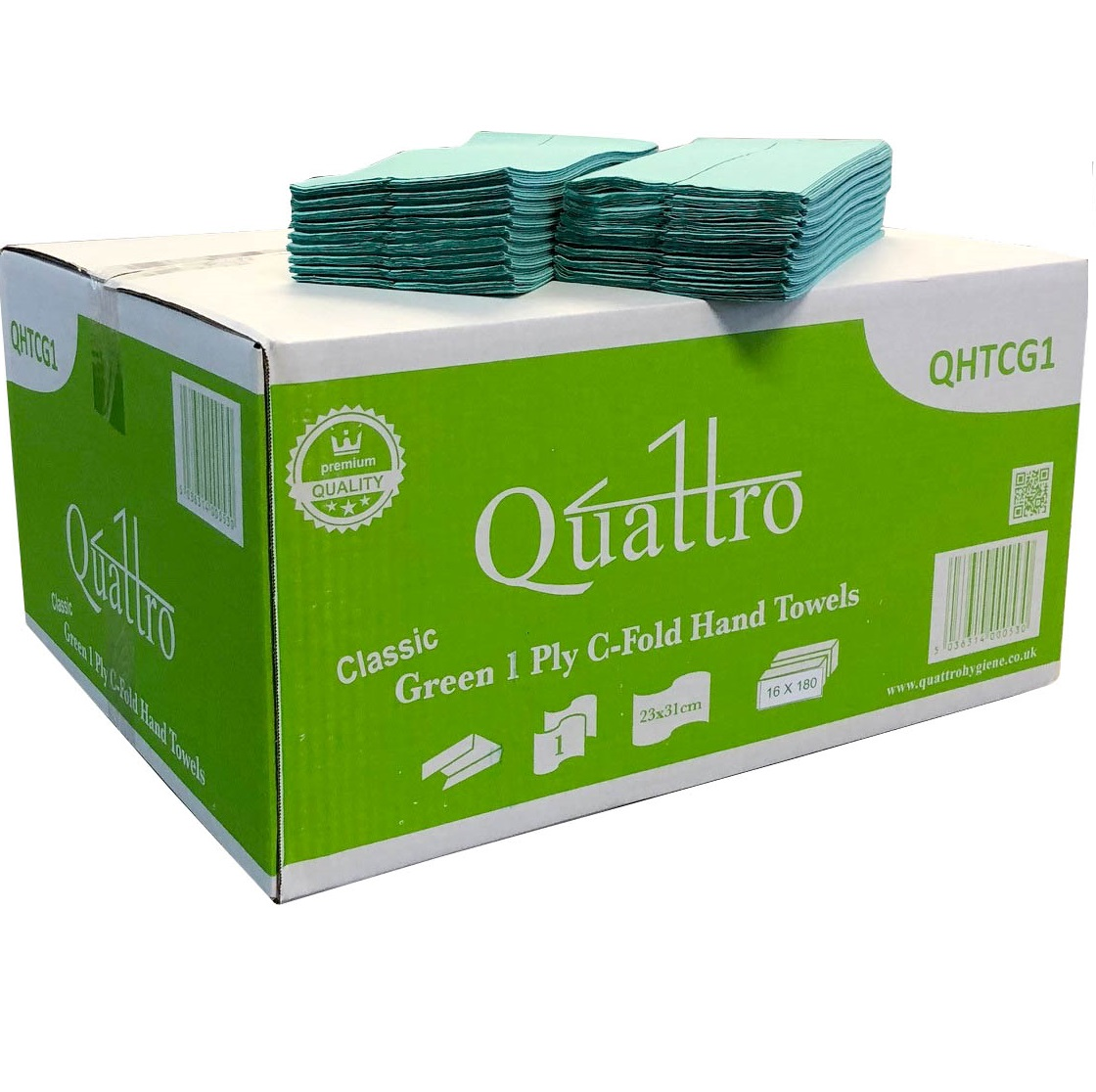 Quattro-Super-Soft-Green-C-Fold-1ply-H-Towel--2880--QHTCG1