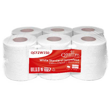 White-Centrefeed-Embossed-18cm-x150m-2ply--6-Rolls--QCF2W150