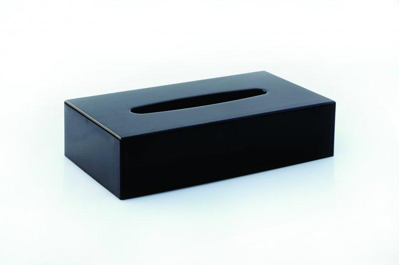 Oblong Plastic Tissue Box Cover - Black