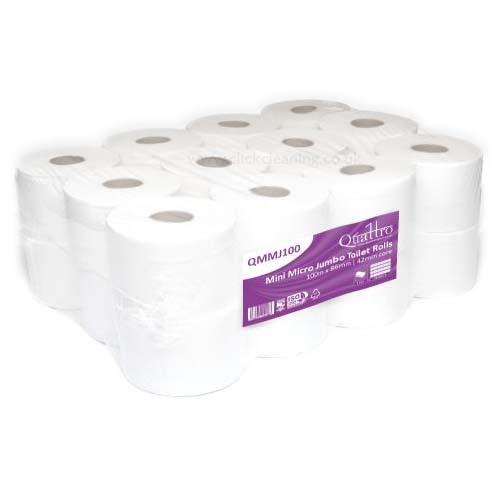 Mini-Micro Pure Tissue Toilet Roll - 38mm core (24 rolls) QMMJ100