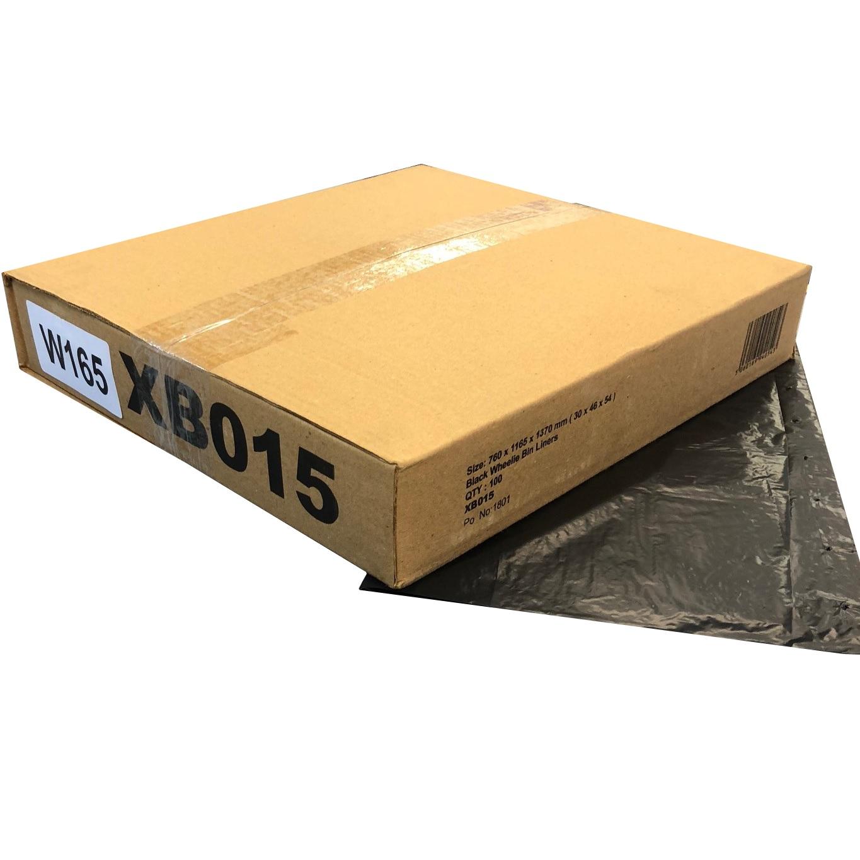 W165 Black Wheelie Bin Liners - 30x46x54 (case of 100)