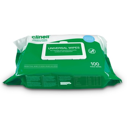 Clinell Universal Wipe 26x18cm  (BCW100) Pk 1x100 Green Pack